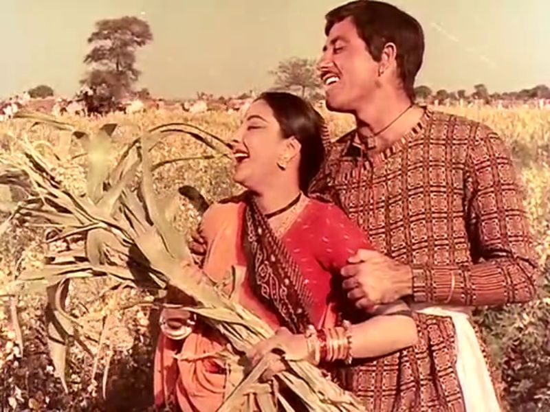 Raaj Kumar and Nargis in Mother India