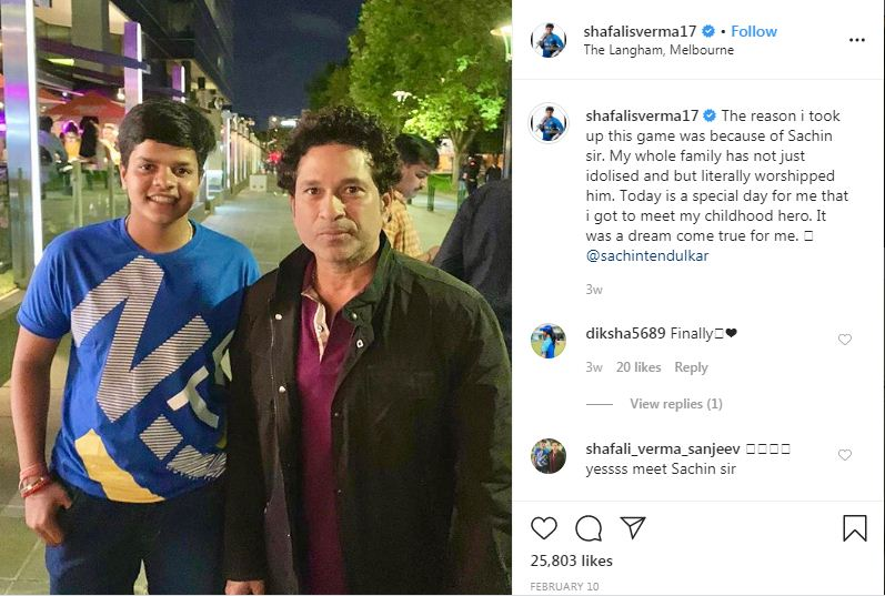 Shafali meets her idol Sachin Tendulkar