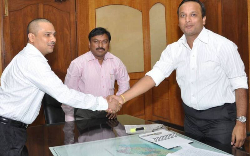 A Girija Shankar (left), who took over as the new Joint Collector, greeting Collector Lav Agarwal in Visakhapatnam