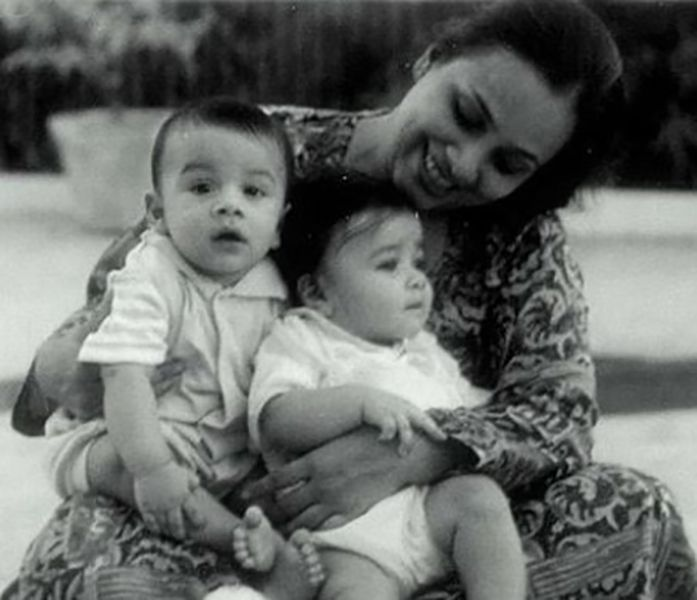 Anuv Jain as a Child with his Mother and Twin Sister