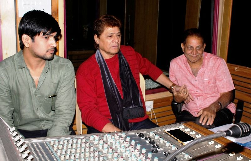 Arjun Firoz Khan recording his debut Bollywood song