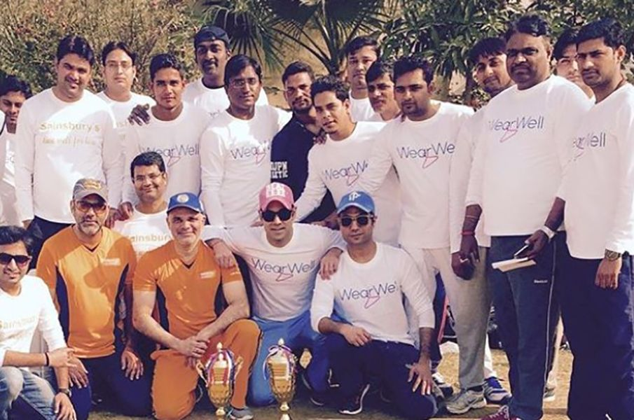 Bharat Sahni with the Cricket Team of his Company after a Cricket Tournament