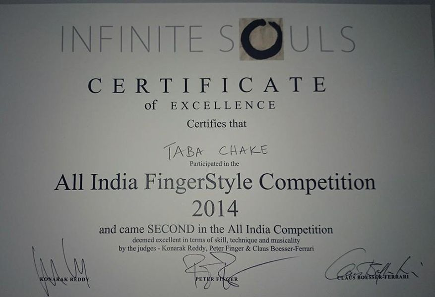 Certificate of Taba Chake of a Fingerstyle Competition