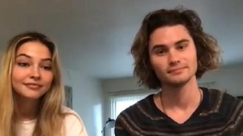 Chase Stokes and Madelyn Cline interacting with an Interviewer through a video call while in quarantine due to COVID-19 in LA