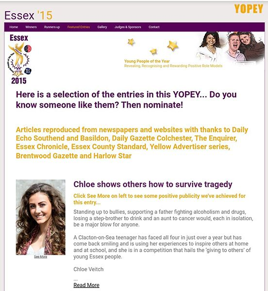 Chloe Veitch Being Nominated For Essex Young People of the Year Award