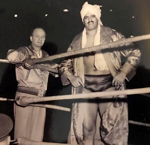 Dara Singh during one of his wrestling tournaments