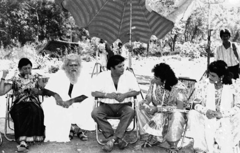 Gajendra Chauhan, Gufi Paintal, and Nitish Bharadwaj on the set of Mahabharat