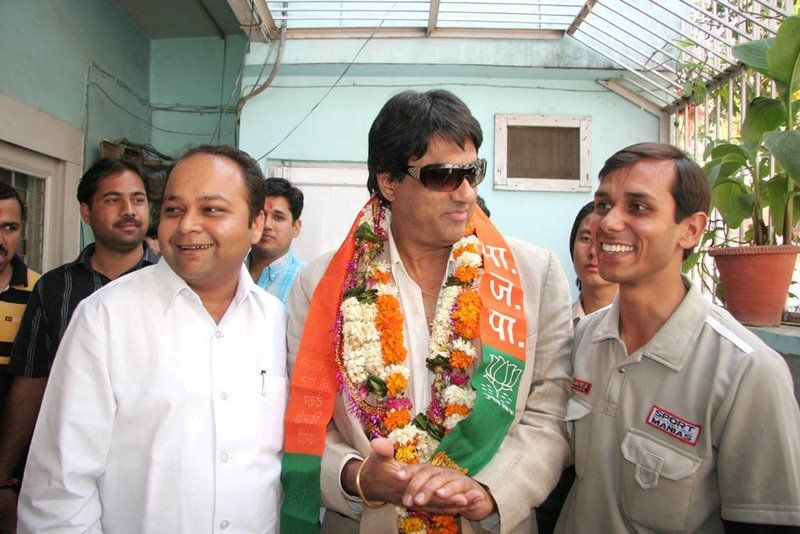 Mukesh Khanna campaigning for the BJP in Delhi