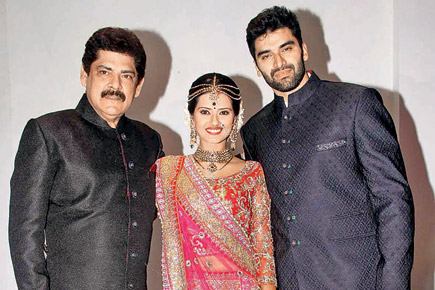 Pankaj Dheer with his son and daughter-in-law