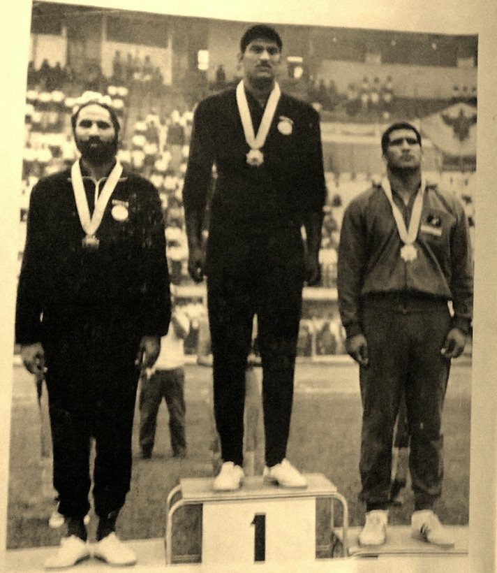 Praveen Kumar with his gold medal in the 1966 Asian Games
