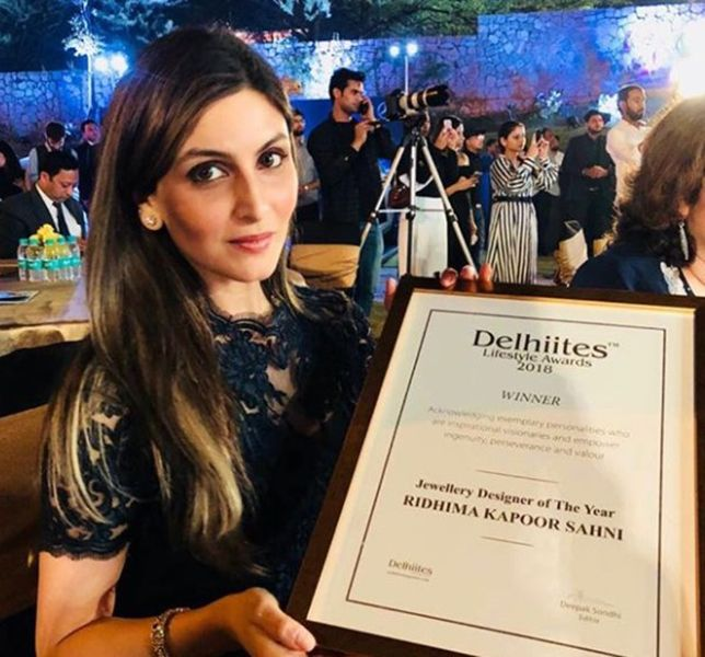 Riddhima Kapoor Sahni with her Delhiites Lifestyle Award