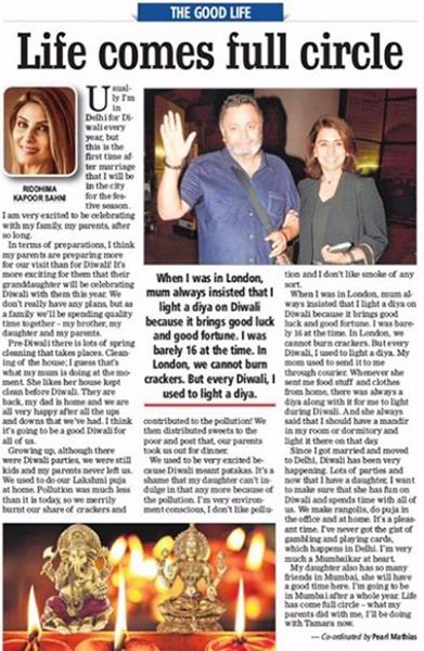 Riddhima Kapoor Sahni's Column on Free Press Journal