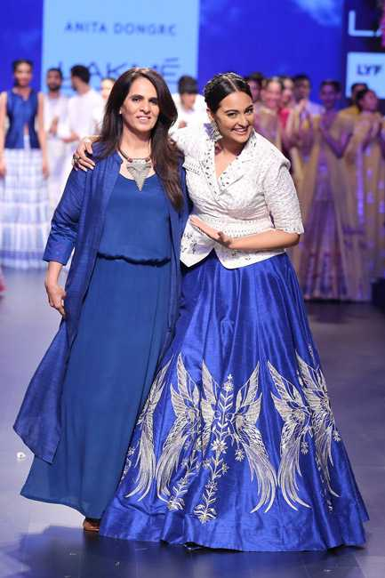 Sonakshi Sinha walking the ramp for Anita Dongre