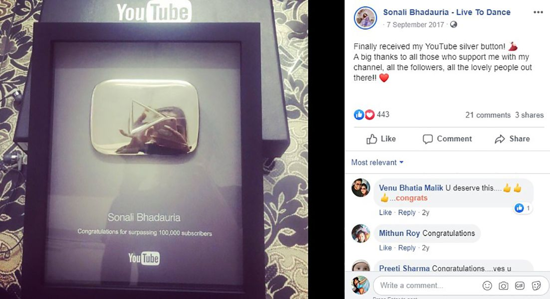 Sonali Bhadauria's Facebook Post About Winning Silver Button
