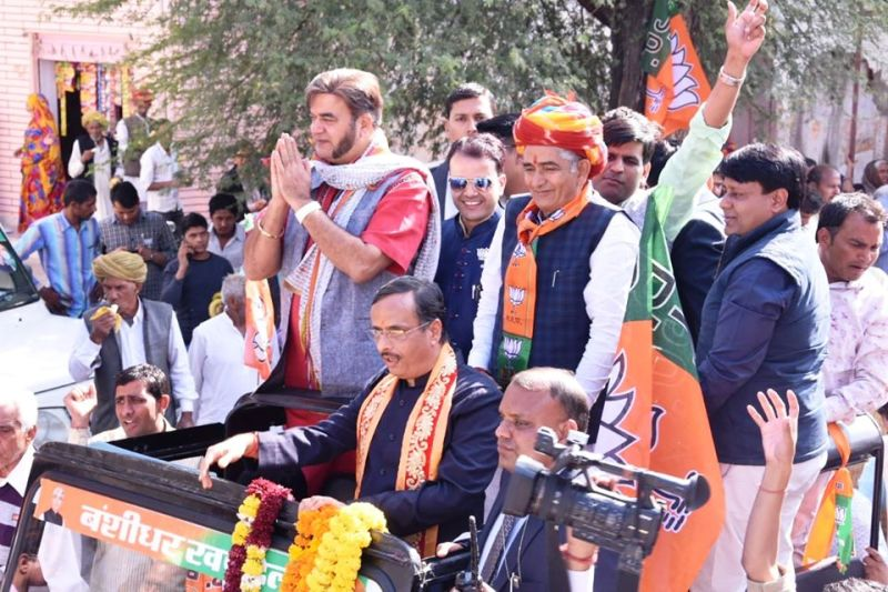Surendra Pal campaigning for the BJP in Rajasthan