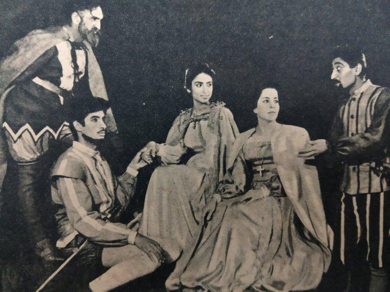 Teji Bachchan (3rd from right) and Amitabh Bachchan in the Play Othello