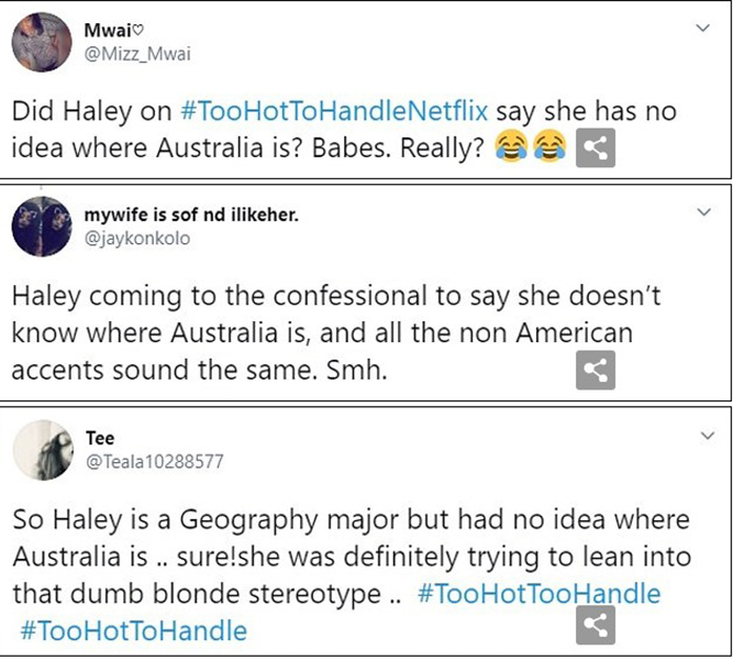 Twitter Comments on Haley Cureton's Statements On the Show 'Too Hot To Handle'