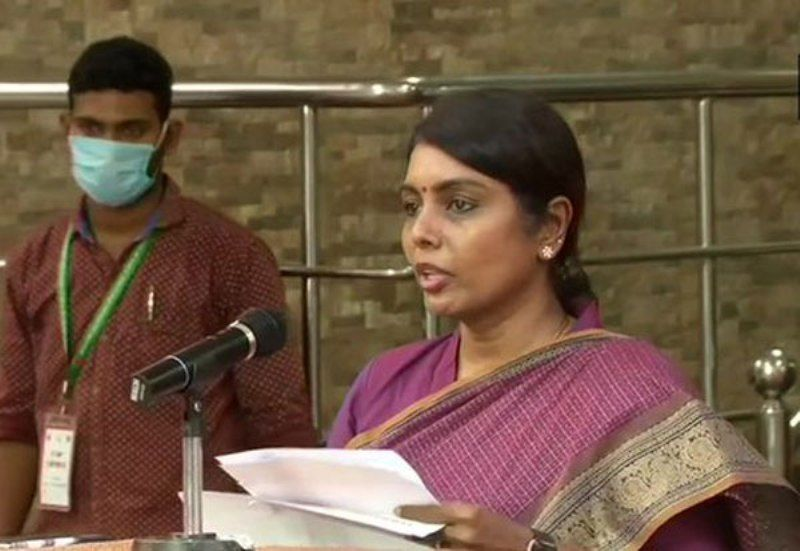 Beela Rajesh at a Press Conference During the COVID-19 Pandemic