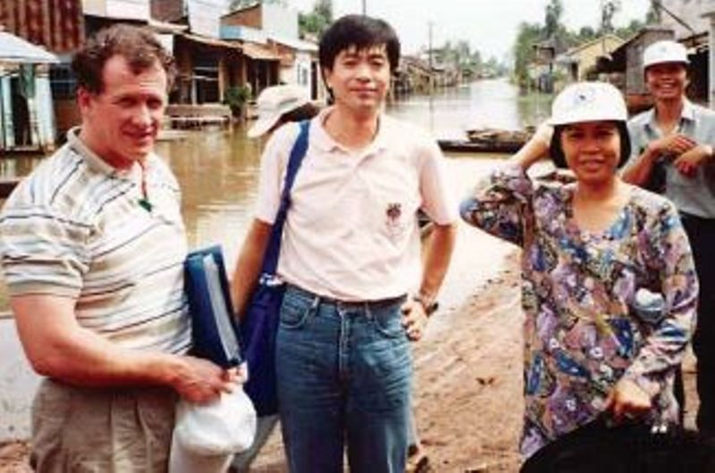 Chris Maher (left) and his colleagues in Cambodia in the early 1990s