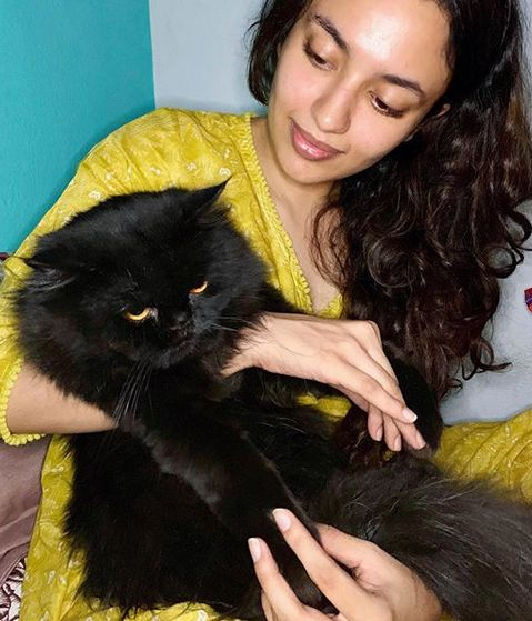 Malavika Nair with her pet cat
