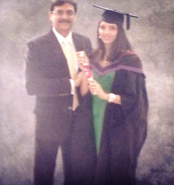 Miheeka Bajaj With Her Father on Her Graduation Day
