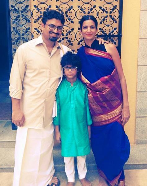 Poorna Jagannathan with her Husband and Son