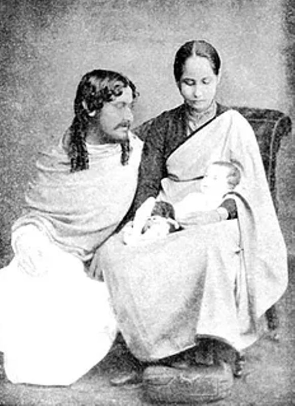 Rabindranath Tagore and Mrinalini Devi with their first child, Bela, in 1886