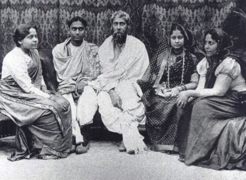 Rabindranath Tagore at the wedding of his Son Rathindranath Tagore (second from left) - his Daughter-in-law Pratima (second from right), and two Daughters, in 1909