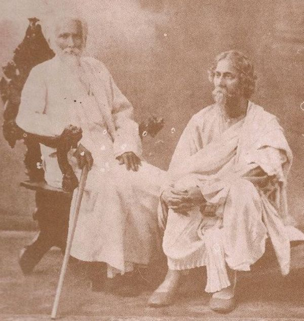 Rabindranath Tagore (right) with his eldest brother, Dwijendranath Tagore
