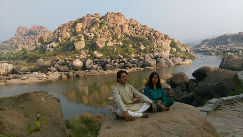 Sarvadaman D Banerjee Doing Meditation in Rishikesh Along With His Wife Alankrita Banerjee