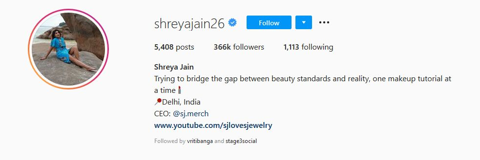 Shreya Jain's Instagram Profile
