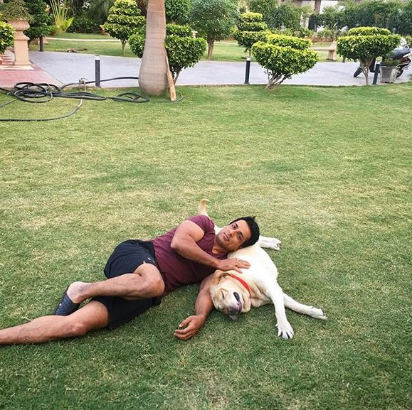 Sonu Sood with his pet dog