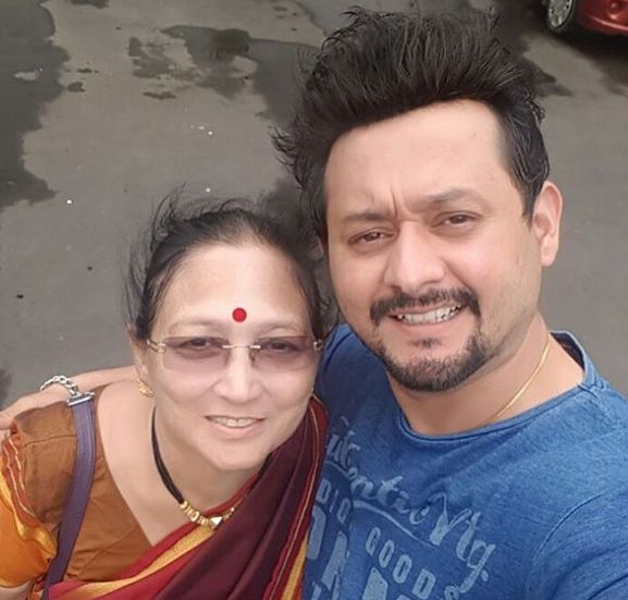 Swapnil Joshi with his mother