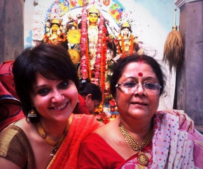 Swastika Mukherjee with her mother