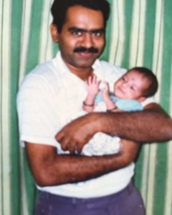 A Childhood Picture of Khushboo Upadhyay With Her Father