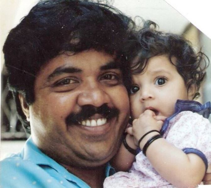 A Childhood Picture of Meghana Raj With Her Father