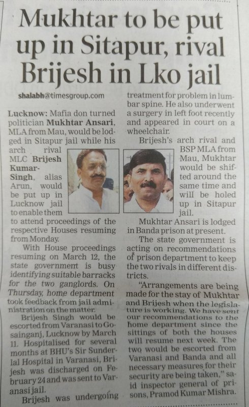 A News About Brijesh Singh and Mukhtar Ansari