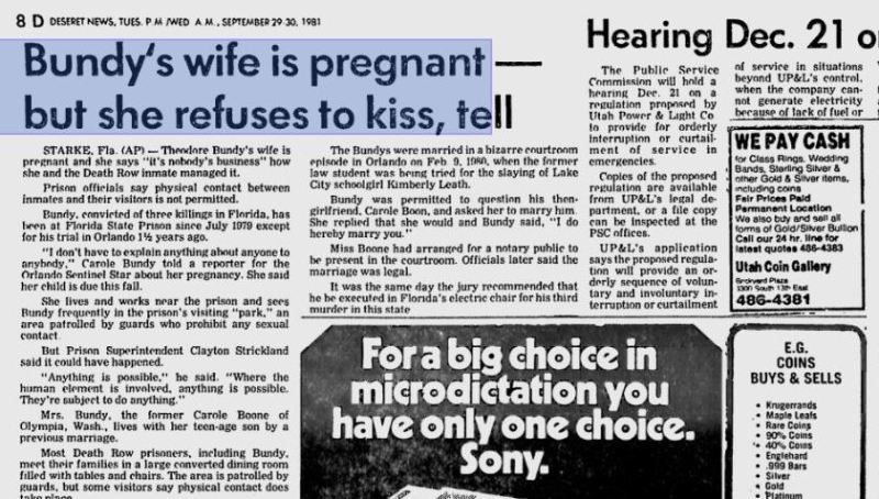 A Newspaper Article About Rose Bundy's Conception