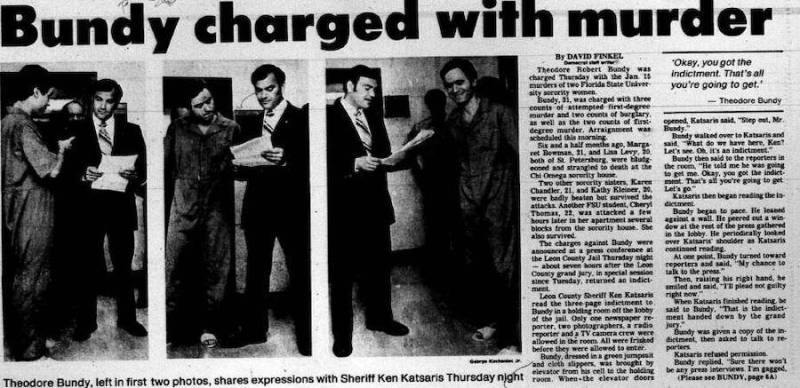 A newspaper clipping details Ted Bundy's murder charges for the Chi Omega sorority murders, 1978