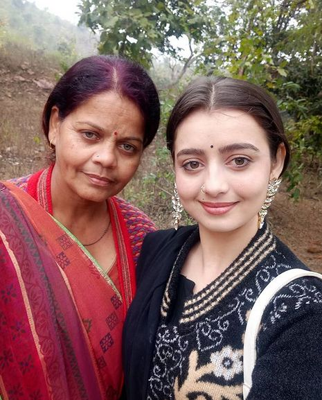 Chahat Pandey with her mother