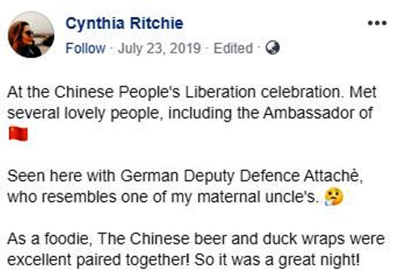 Cynthia D. Ritchie's Facebook Post