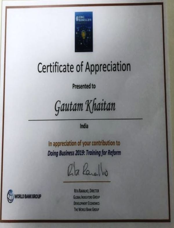 Gautam Khaitan's Doing Business Certificate 2019