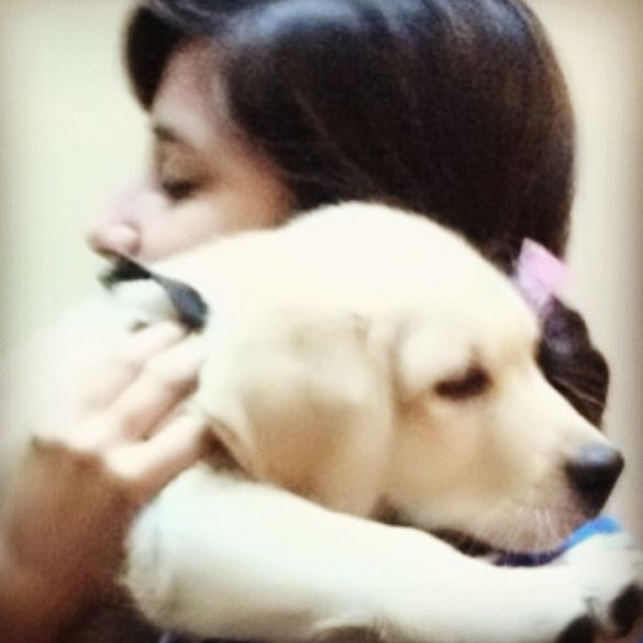 Maera Mishra with her pet dog