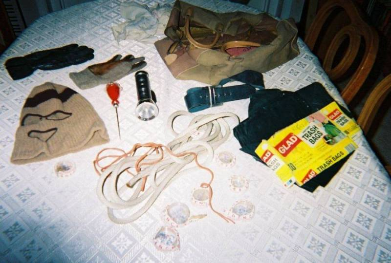 Objects found in Ted Bundy's car in 1975