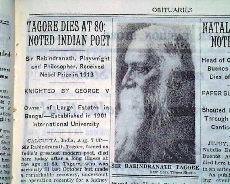 Rabindranath Tagore's death news in The New York Times