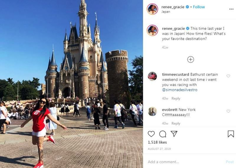 Renee Gracie's Instagram post about her favourite travel destination