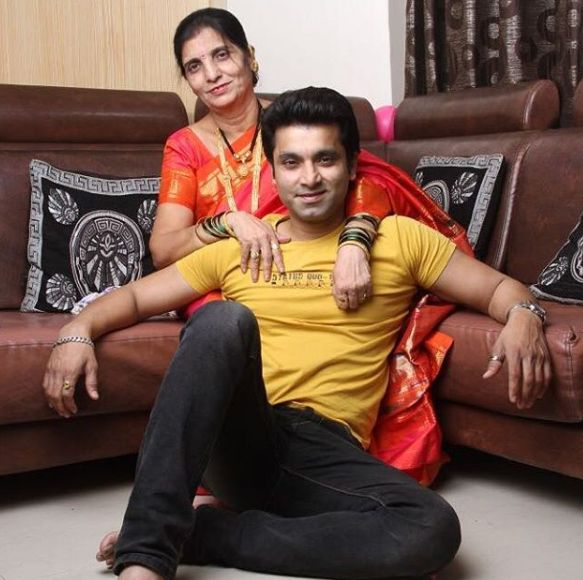 Santosh Juvekar with his mother