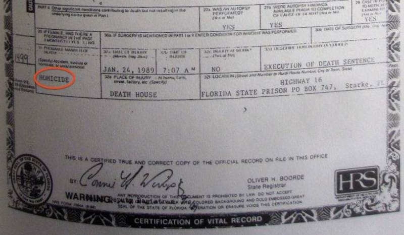 Ted Bundy's death certificate