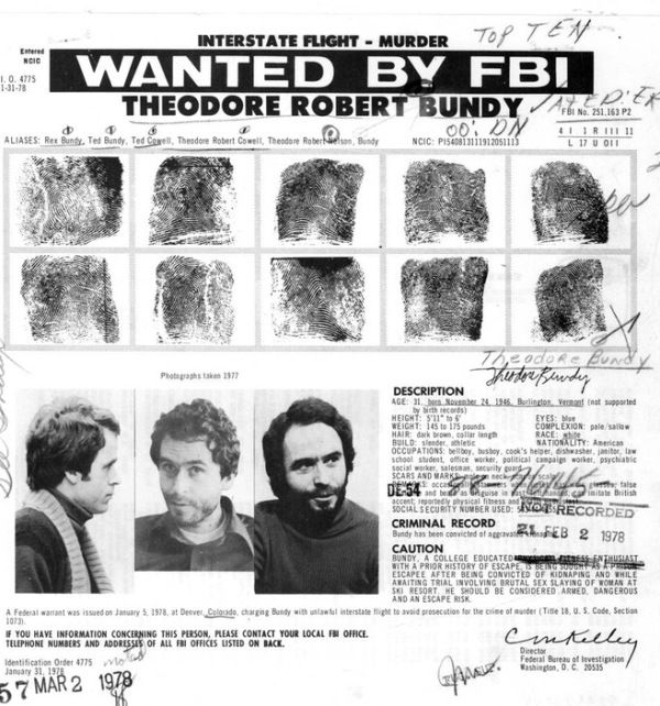 Ted Bundy Wanted By FBI
