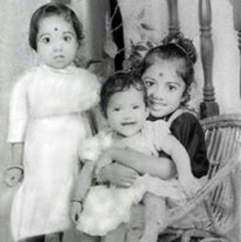 A Childhood Picture of Sai Swetha With Her Sisters